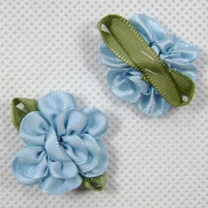 Small fabric flowers, blue, 3.2cm x 2.8cm, (CDH012)